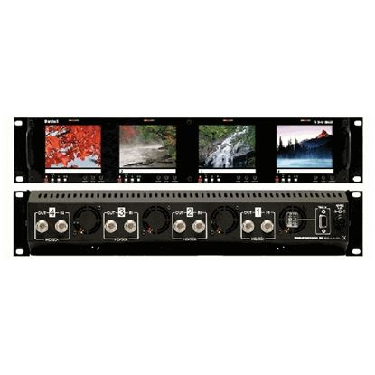 Picture of V-R44P-HDSDI Four  HD 3.5' LCD Screen Rack Mount Panel with HDSDI Input